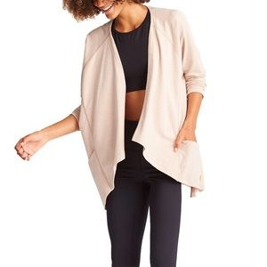 Lucy Active Blush Pink Draped Open Wrap Cardigan